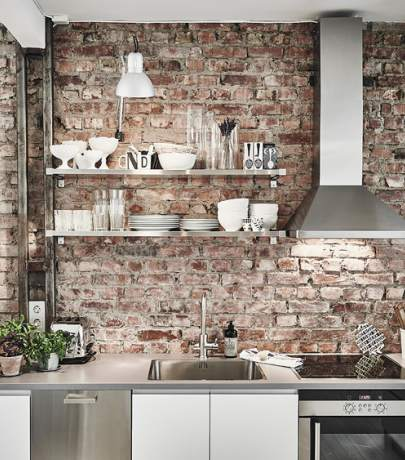 Red brick kitchen backsplash ideas