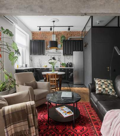56 sq.m eclectic apartment in Moscow