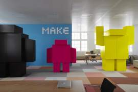 Pop art style office interior