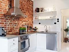 Red bricks in the kitchen