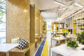Yellow blue office in China