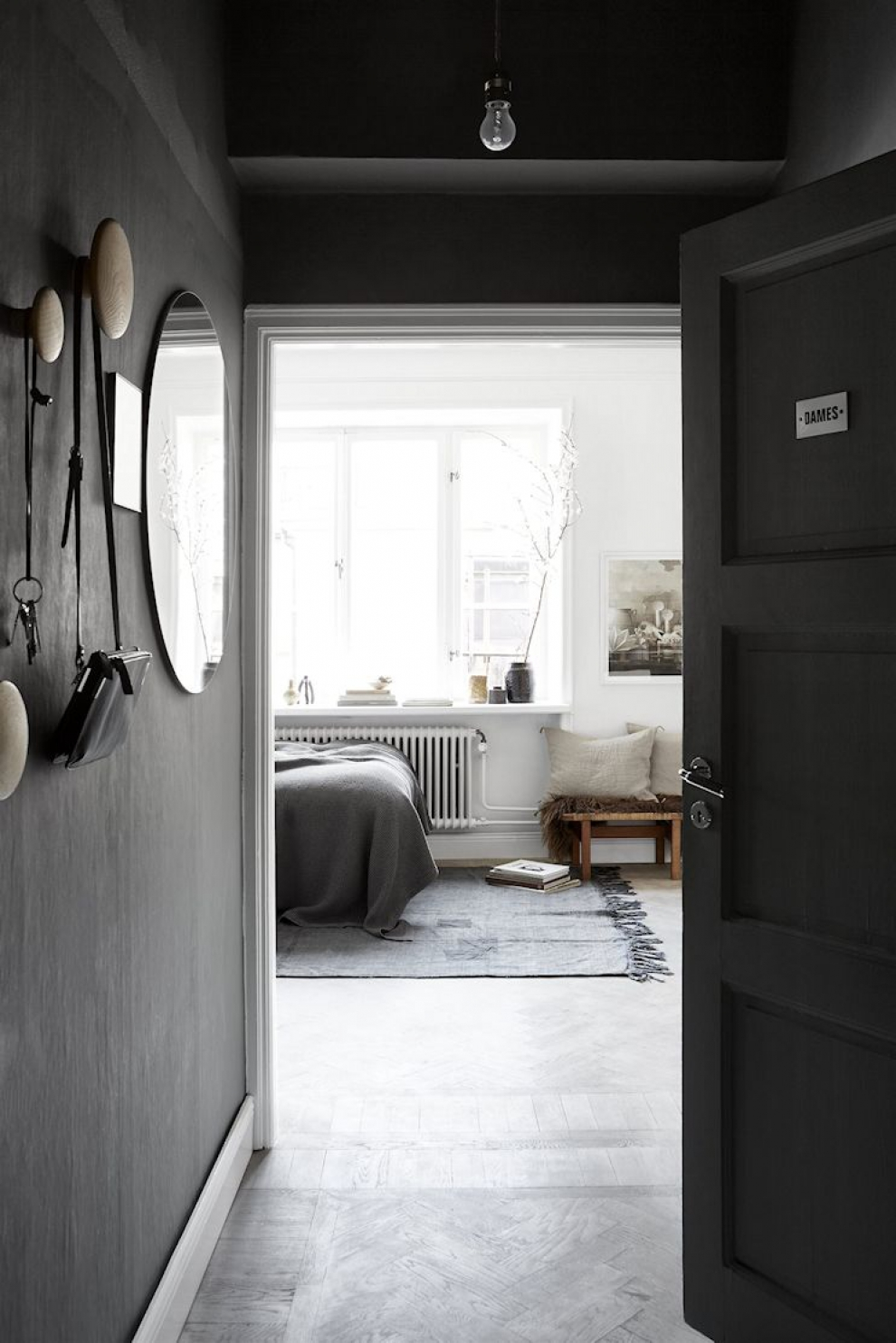grey walls in entry room