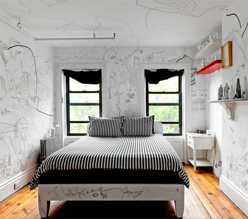 drawings in bedroom