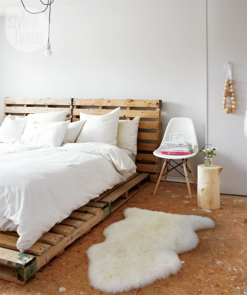skandinaviškas stilius miegamajame
