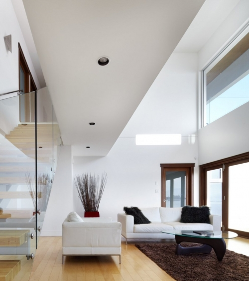 white walls and ceiling