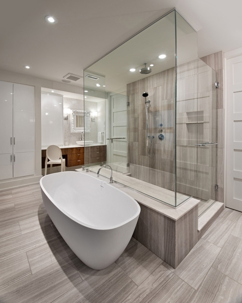 glass wall in bathroom
