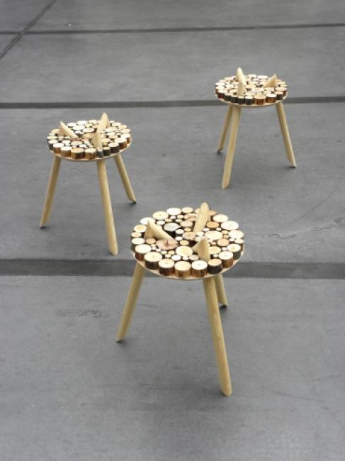 perdirbto medžio staliukas