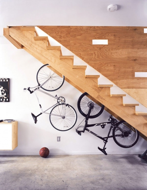bicycle under stairs