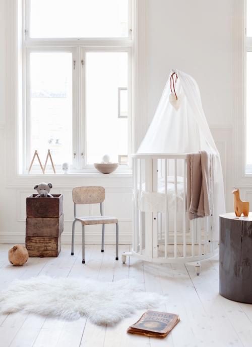 skandinaviskas kudikio kambarys