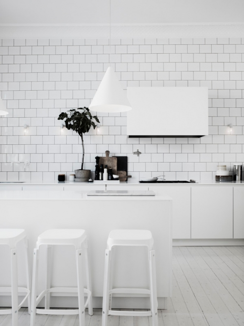 white tiles and furniture