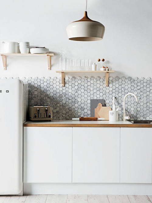 small tiles in kitchen