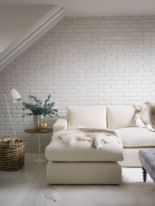 white bricks in bedroom