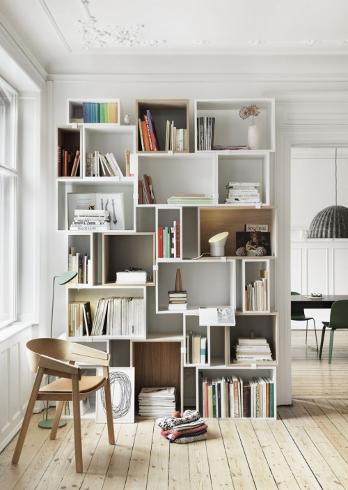 different size bookshelves
