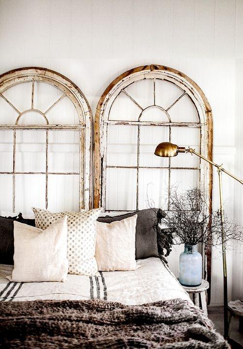 window frames as headboard