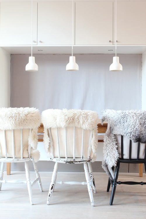 fur on chairs