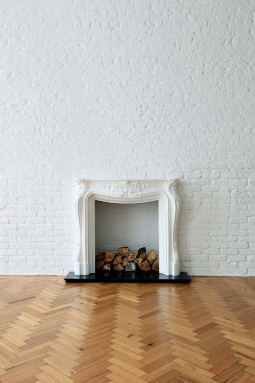 brick wall fireplace