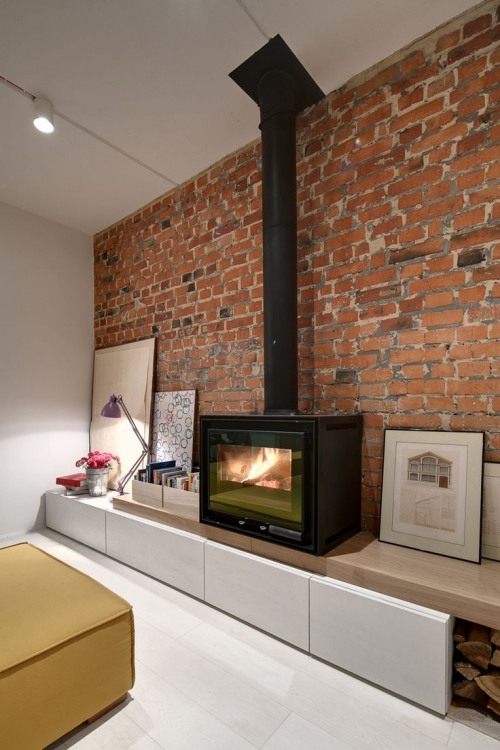 fireplace in the cabinet