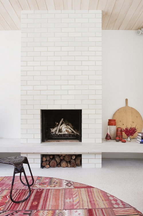 fireplace with tiles
