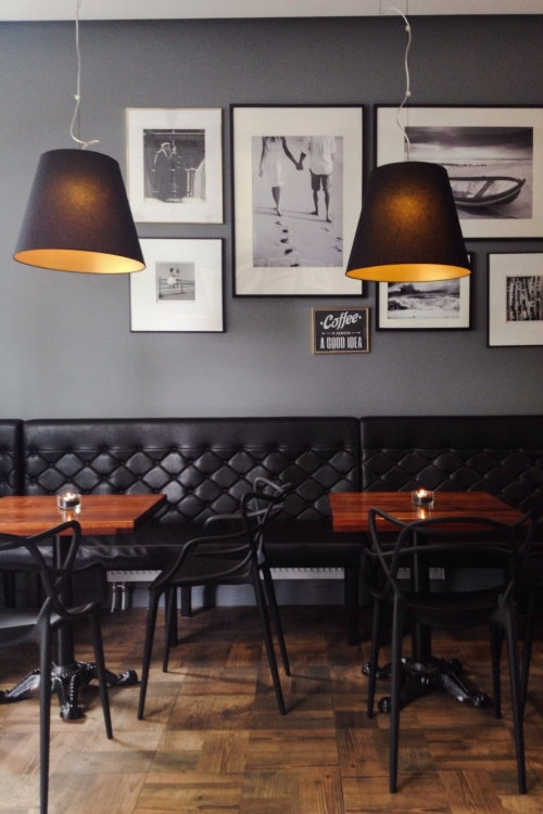 black furniture in restaurant