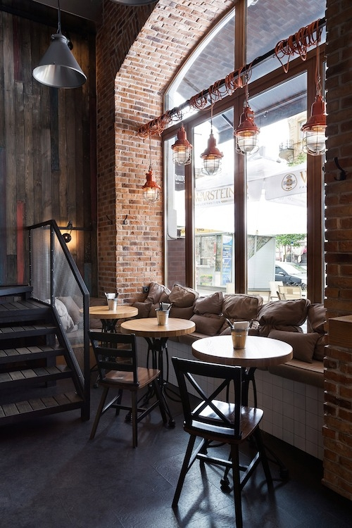 kavinė su sėdima palange