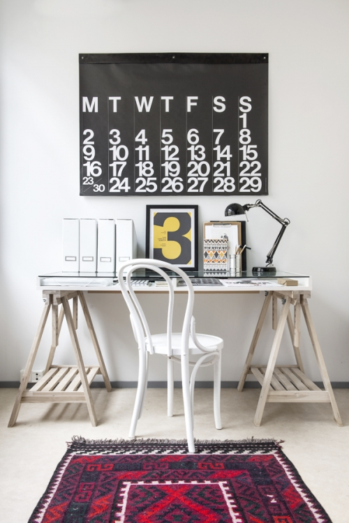 calendar above the table