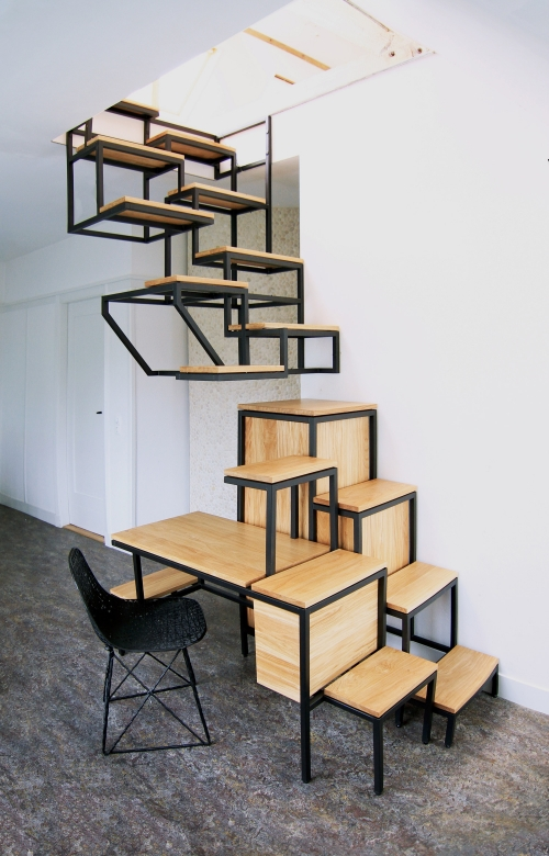 stairs as a table