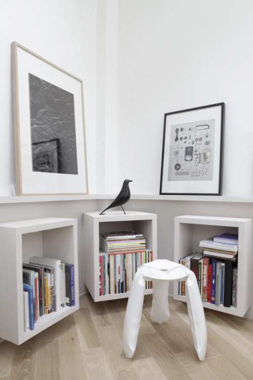 minimalistinės knygų lentynos