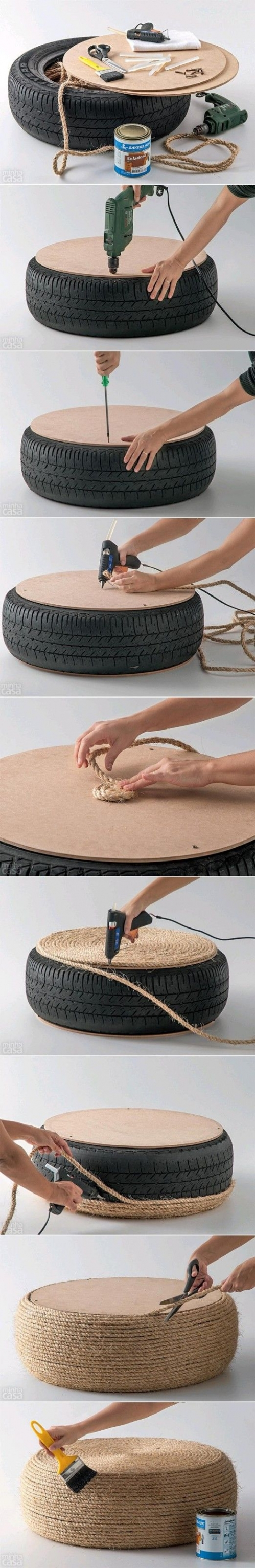 pouf from tire and ropes