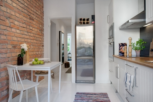 red bricks scandinavian kitchen