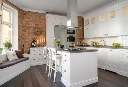 red bricks white kitchen
