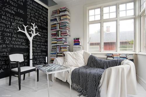 living room black and white