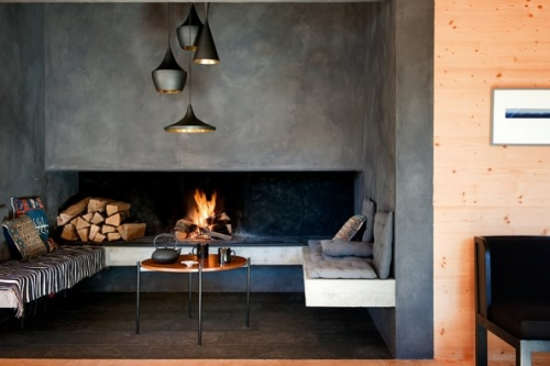 bench at fireplace