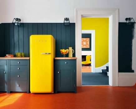 yellow fridge