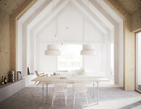 white interior and wood
