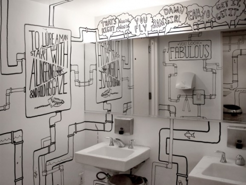 bathroom drawn walls