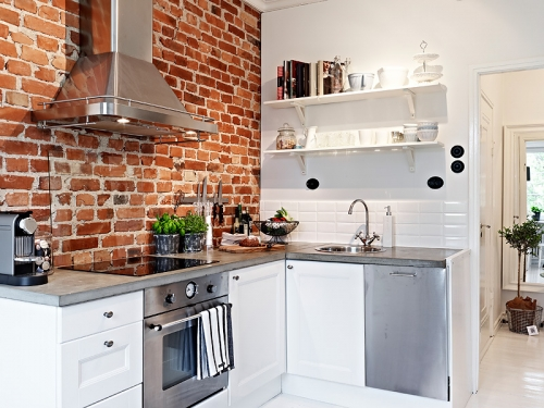 bricks wall in kitchen