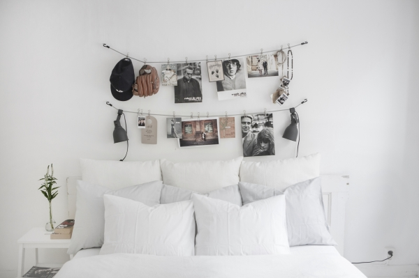photos above the bed