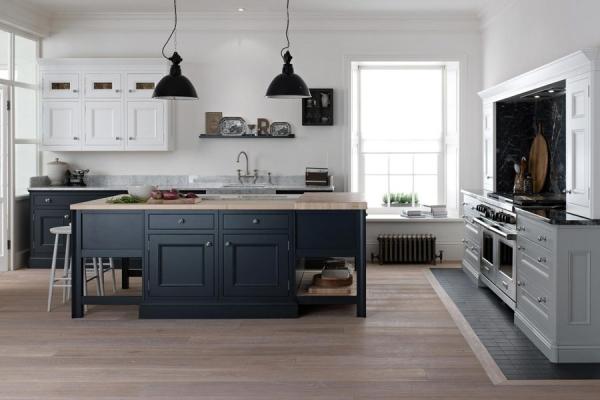 grey white black kitchen