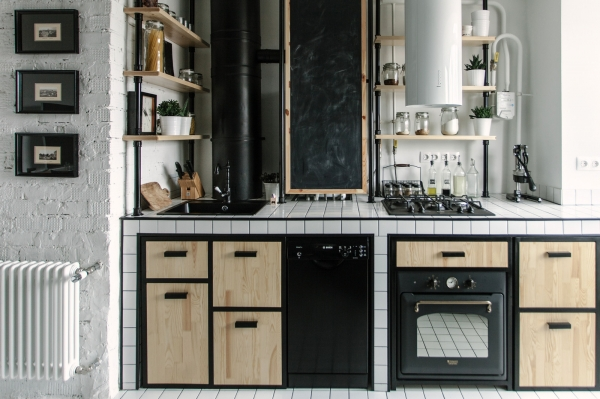 industrinio stiliaus virtuve