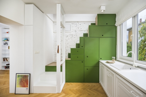 stairs over the kitchen