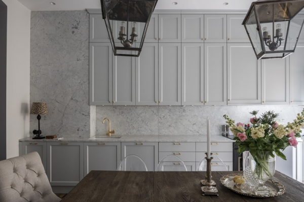grey kitchen marble