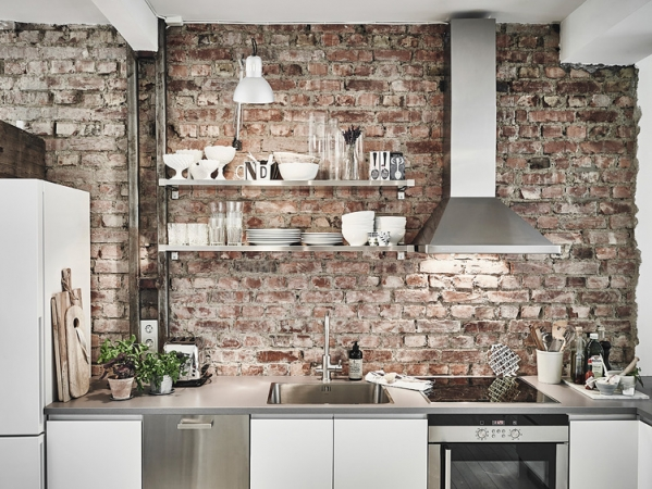 bricks wall kitchen