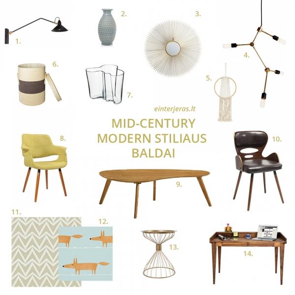 mid century modern baldai lietuvoje