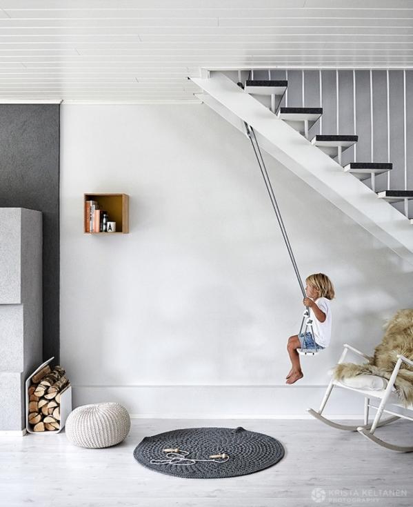 swings under stairs