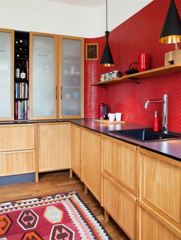 red tiles in the kitchen