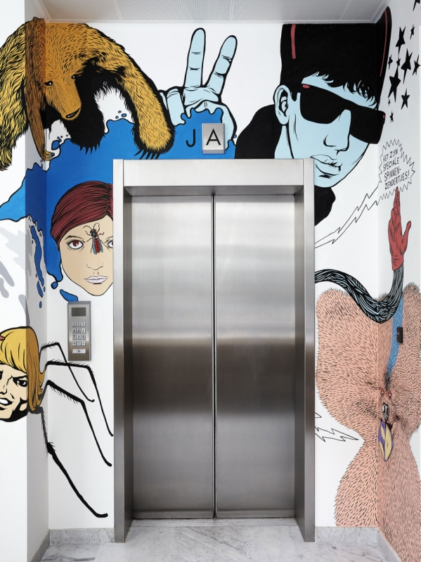 drawings over the elevator