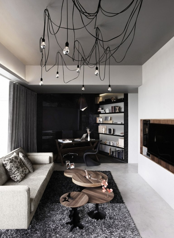 modern living room and working zone
