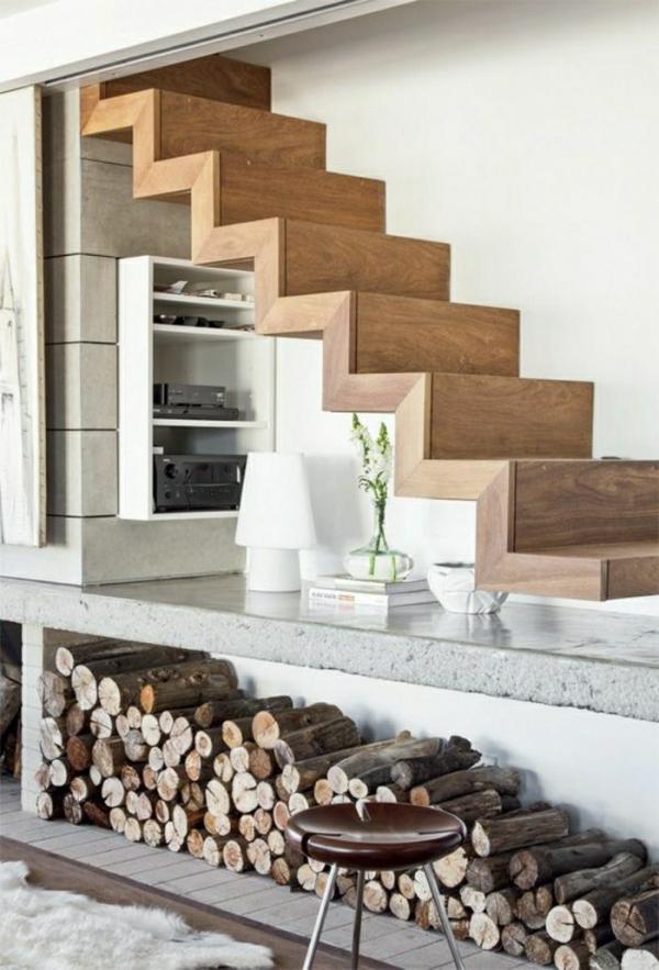 firewood under stairs