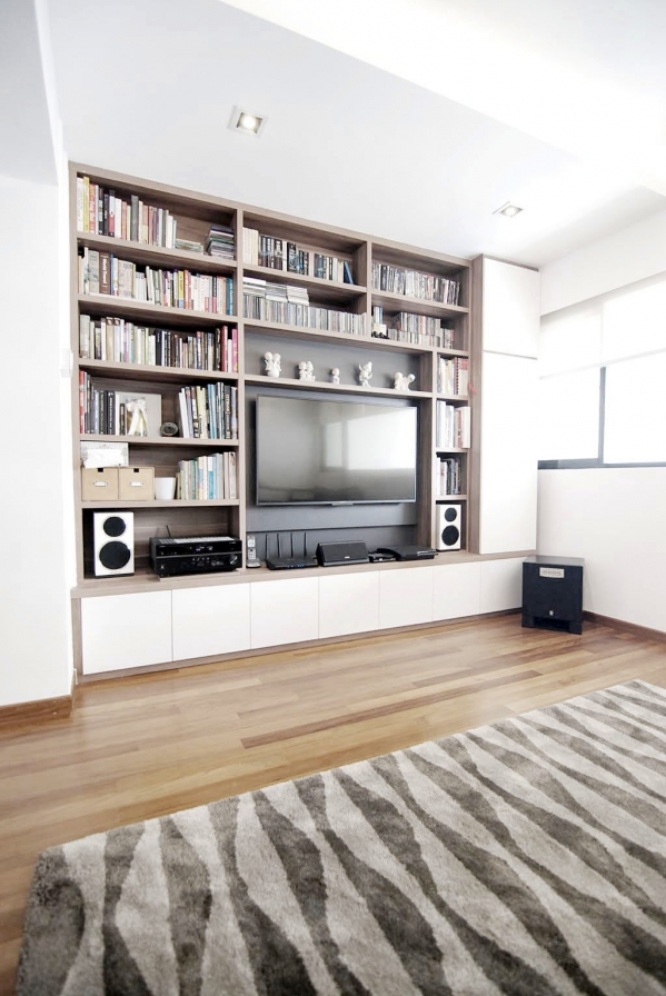 shelves around tv