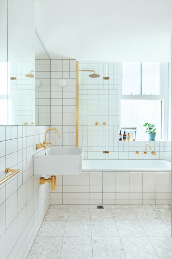 gold in bathroom